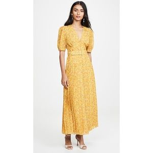 Divine Heritage Yellow Floral Belted Maxi Dress